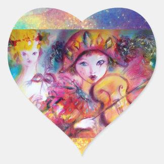 ARLECCHINO AND COLOMBINA ,Pink Fuchsia Yellow Blue Heart Sticker