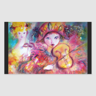 ARLECCHINO AND COLOMBINA ,Pink Fuchsia Yellow Blue Rectangular Sticker