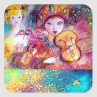 ARLECCHINO AND COLOMBINA ,Pink Fuchsia Yellow Blue Square Sticker