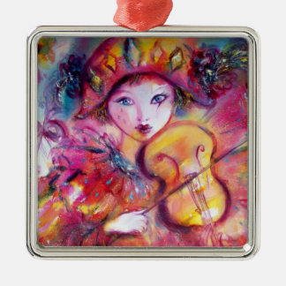 ARLECCHINO AND COLOMBINA pink red Heart Metal Ornament