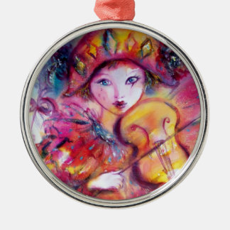ARLECCHINO AND COLOMBINA pink red Heart Christmas Tree Ornament