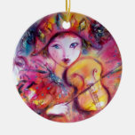 ARLECCHINO AND COLOMBINA pink red Double-Sided Ceramic Round Christmas Ornament