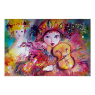 Arlecchino and Colombina /Venetian Carnival Faces Poster