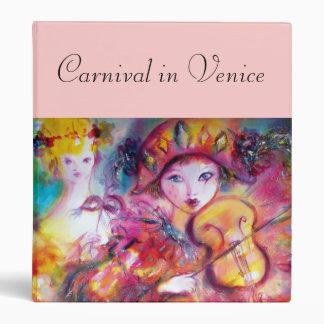 ARLECCHINO AND COLOMBINA / Venetian Carnival Masks 3 Ring Binder
