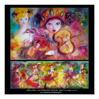 Arlecchino, Colombina y ballet del carnaval Posters