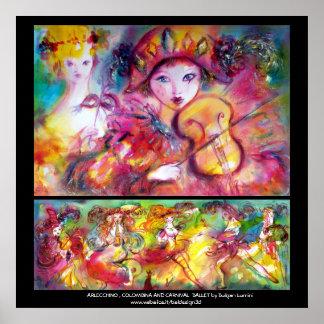 Arlecchino, Colombina y ballet del carnaval Póster