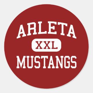 Arleta - Mustangs - High - Arleta California Classic Round Sticker