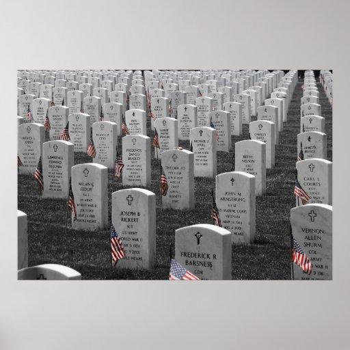 Arlington B&W Flags Color Poster