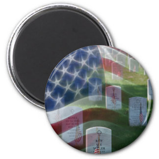 Arlington National Cemetery, American Flag 2 Inch Round Magnet