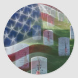 Arlington National Cemetery, American Flag Classic Round Sticker