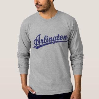 Arlington script logo in blue shirt