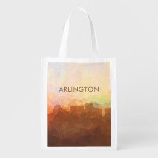Arlington, Texas Skyline IN CLOUDS Reusable Grocery Bag