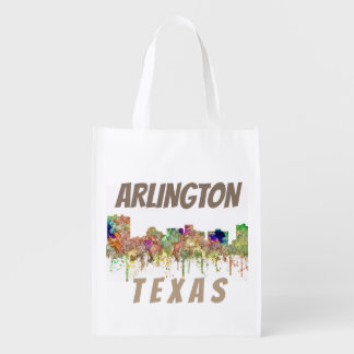 Arlington Texas Skyline SG-Faded Glory Reusable Grocery Bag