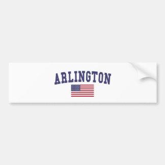 Arlington TX US Flag Bumper Sticker