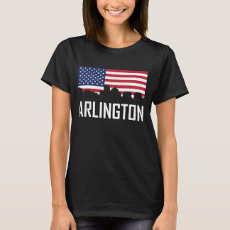 Arlington Virginia Skyline American Flag T-Shirt