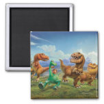 Arlo, Spot, and Ranchers In Field 2 Inch Square Magnet