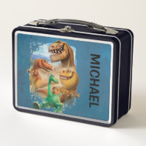 Arlo, Spot, and Ranchers In Forest Metal Lunch Box
