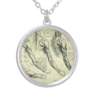 Arm and Shoulder Anatomy by Leonardo da Vinci Round Pendant Necklace