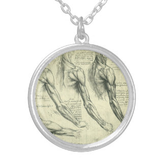 Arm and Shoulder Anatomy by Leonardo da Vinci Silver Plated Necklace