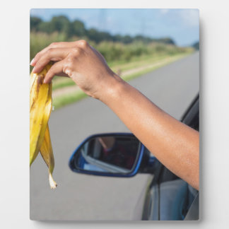 Arm dropping peel of banana out car window plaque
