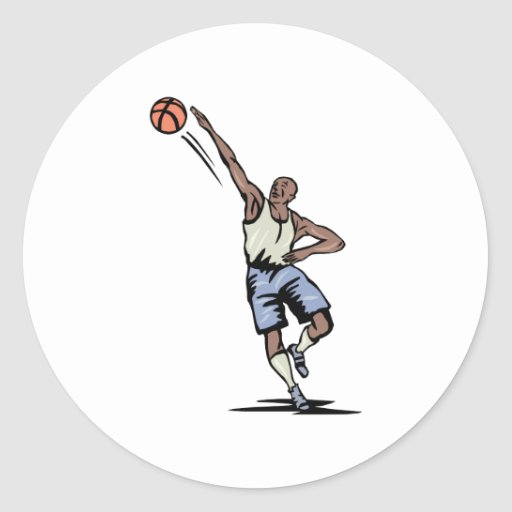 arm extended making the shot basketball design classic round sticker