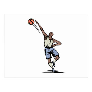 arm extended making the shot basketball design postcard