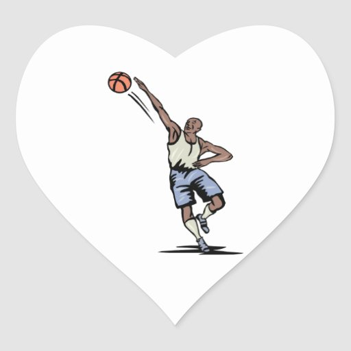 arm extended making the shot basketball design heart stickers
