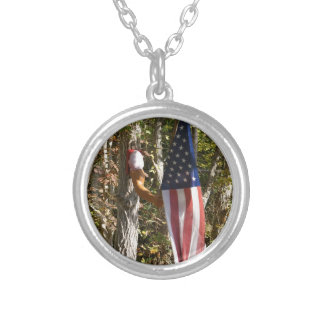 Arm Flag Holder Fun Americana American Silver Plated Necklace