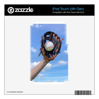 Arm holding baseball with glove  in blue sky.JPG Skins For iPod Touch 4G