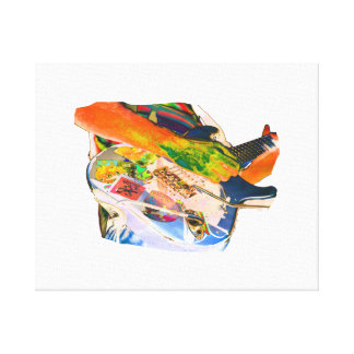 Arm Playing Guitar Blue Psychadelic Colors Square Canvas Print