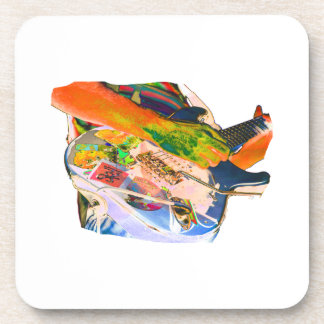 Arm Playing Guitar Blue Psychadelic Colors Square Drink Coaster