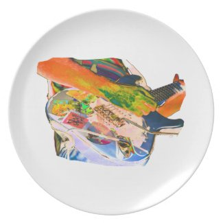 Arm Playing Guitar Blue Psychadelic Colors Square plate