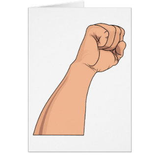 Arm Raised Clenched Fist Pump Card