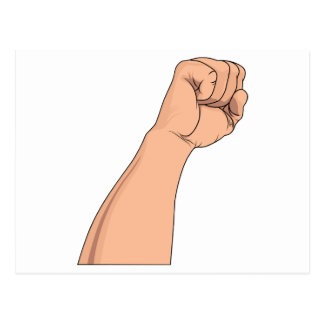 Arm Raised Clenched Fist Pump Post Cards