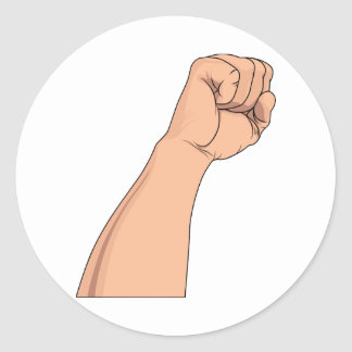 Arm Raised Clenched Fist Pump Sticker
