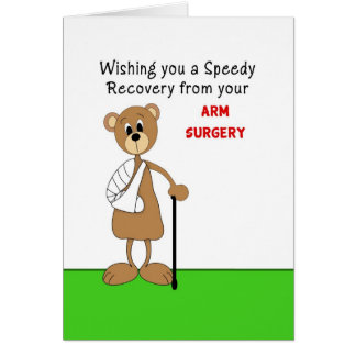 Arm Surgery Greeting Card-Bear in Cast with Cane