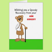 Arm Surgery Greeting Card-Bear in Cast with Cane Card