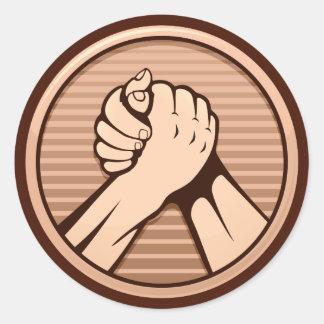 Arm wrestling Bronze Classic Round Sticker