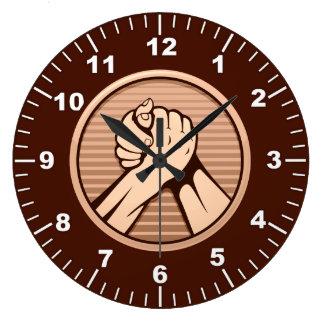 Arm wrestling Bronze Large Clock