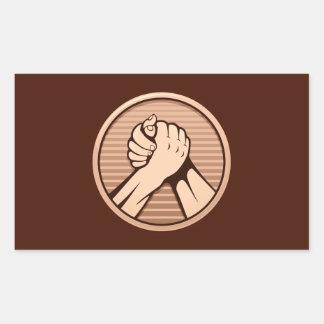 Arm wrestling Bronze Rectangular Sticker