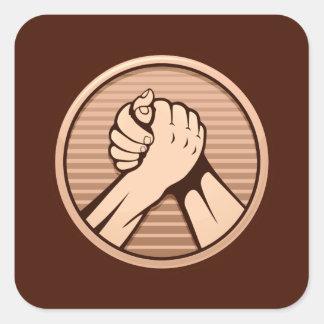 Arm wrestling Bronze Square Sticker