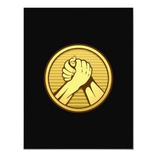 Arm wrestling Gold 4.25x5.5 Paper Invitation Card