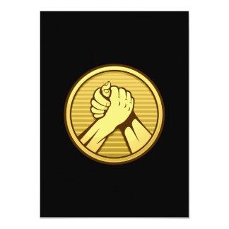 Arm wrestling Gold 4.5x6.25 Paper Invitation Card