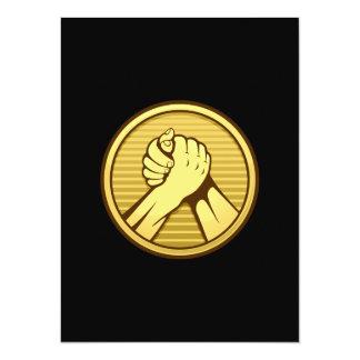 Arm wrestling Gold 5.5x7.5 Paper Invitation Card
