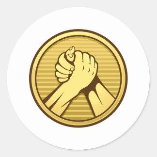 Arm wrestling Gold Classic Round Sticker