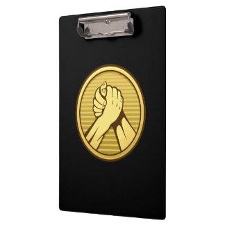 Arm wrestling Gold Clipboard