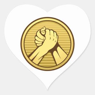 Arm wrestling Gold Heart Sticker