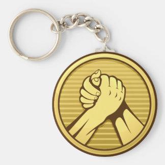 Arm wrestling Gold Keychain