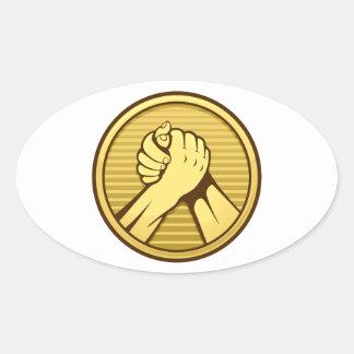 Arm wrestling Gold Oval Sticker
