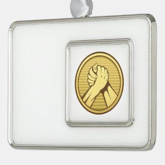 Arm wrestling Gold Silver Plated Framed Ornament